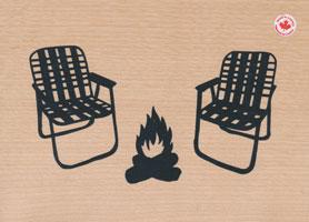 Lawn Chairs Screenprint on Wood Veneer