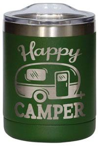 14oz Olive Green Happy Camper Tumbler