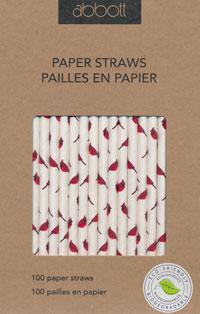 Cardinal Print Paper Straws