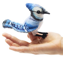 OUT OF STOCK/UNAVAILABLE Mini Blue Jay Finger Puppet