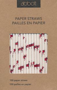 Moose Print Paper Straws