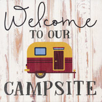 Block Sign, Welcome To Our Campsite 12663